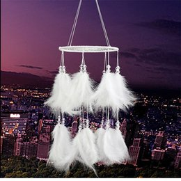 White feather pendant light online shopping - New Creative White Round Dream Catcher Feather Handmade Exquisite Dreamcatcher With String Light Wall Pendant Hot Sale lz aa