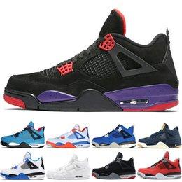 rivet tassel shoe 2019 - 4 4s Travis Scotts Cactus Jack Mens Basketball Shoes Raptors Kaws Denim Eminem Pure Money Motosports Blue Bred men sport