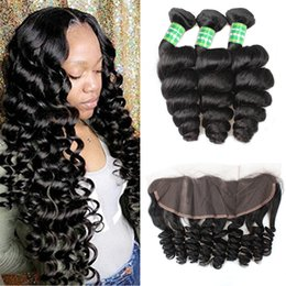 milky way hair 2019 - 8A Virgin Hair Brazilian Loose Wave Bundles with Frontal Wet and Wavy Human Hair Extensions Ear to Ear Lace Frontal Clos