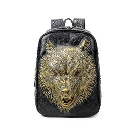 Discount stylish school bags for girls - 3D wolf head backpack stylish backpacks special cool shoulder bags for teenage girls PU leather laptop school bags