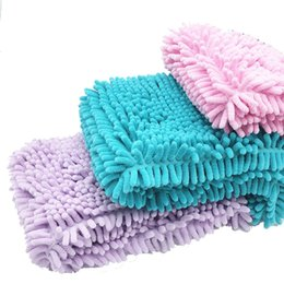 Chinese  4 Colors Absorbent Microfiber Chenille Cat Dog Towel with Hand Pockets Quick Fast Drying Pet Bathing Towel 35*40 60 80 100cm manufacturers