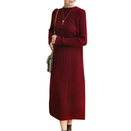 Ankle length cAsuAl winter dresses online shopping - Plus Size XL Fashion Sweater Dress Women Autumn Winter Dress Thicken Vestidos Elegant Pullovers Knitted Dress Robe Longue C38241