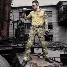 tactical combat suit 2019 - Army Uniform Camouflage Tactical Combat Suit War Game Clothing Hunting Shirt + Pants With Elbow Knee Pads Set cheap tact