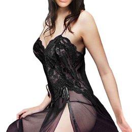 women sexy sleep gowns 2019 - New Arrival Women Sexy Lingerie Nightgown Evening Gown Sleepwear Underwear Women\\\'s Sleep Plus Szie W6 cheap wome