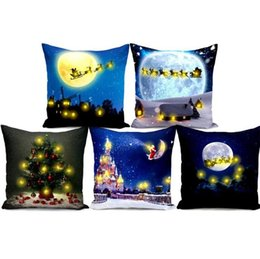 ChoColate bedroom online shopping - LED Light Cushion Cover Christmas Theme Letters Pillowslip Comfortable For Bedroom Decor Pillow Case