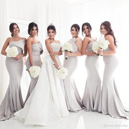Discount mermaid wedding dresses for maternity - Sexy Strapless Mermaid Bridesmaids Dresses For Wedding Formal Party Gowns 2018 Pleats Long Maid of Honor Dress Maternity