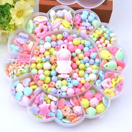 Discount make handmade toys - Kids Puzzle Toys Beads DIY Necklace Making Kit Colorful Handmade String Beads Training Creative Ability Toy Birthday Gif