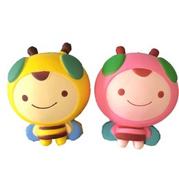 Bees dolls online shopping - Pink And Yellow Kawaii Bee Squishy Decompression Toys Cute Squishies CM Cartoon Bees Slow Rebound Squeeze Honeybee Dolls
