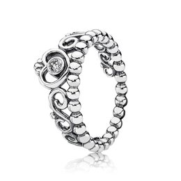 pandora charm beads stone 2019 - 100% 925 Sterling Silver Princess Tiara Ring with Clear Cz Fit Pandora Charm Bead Jewelry Style