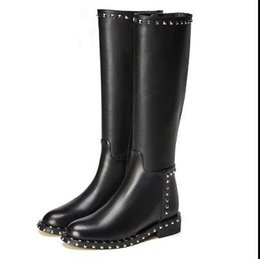 China high quality~u699 40 black genuine leather chain trim thigh boots flats stretch zippy fashion over the knees luxury designer runway shoes 01 suppliers