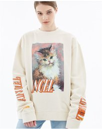 girl hoodies 2018 - HERON PRESTON Lady Hoodies Cute Cat Painting Women Sweatshirt Print Pullover Letter Embroidered Armbands Long Sleeve Shi