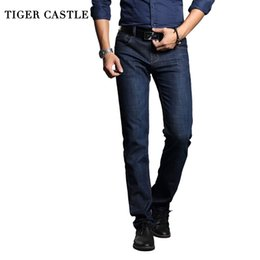 tiger lights 2019 - TIGER CASTLE Classic Mens Skinny Business Work Pants Casual Cotton Straight Male Work Jeans Biker Homme Denim Trousers c