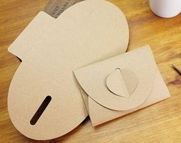 Discount kraft envelope box - Event Gift Boxes Bags 11x17.5CM 50pcs Heart Shape Pearlized Kraft Paper Envelopes Party Paper Bag for Wedding Invitation