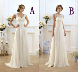 cheap pregnant beach wedding dresses 2019 - New Summer Bohemian Wedding Dresses Cheap Maternity Gown Cap Sleeve Keyhole Lace Up Backless Chiffon Summer Beach Pregna