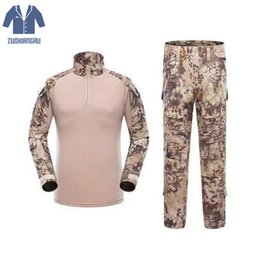 MulticaM caMouflage clothing online shopping - Army Cargo Shirts Combat Trousers Multicam Militar Camouflage Tactical Clothing Paintball Tactical Sets With Knee