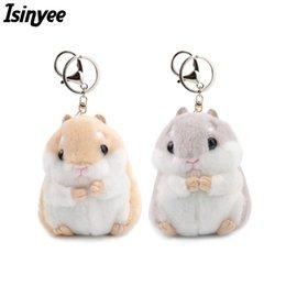 Discount cartoon dolls car - ISINYEE Cute Mini Hamster KeyChains For Women Faux Rabbit Fur Fluffy Toy Doll Bag Key Ring Pom Pom Key Holder Trinket Je