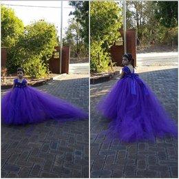 purple mop 2019 - 2018 new European and American explosions flower girl dress   girl wedding dress flower dress   high-grade girls mop ski