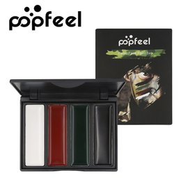 Oil articles online shopping - Popfeel Four colors Eyeshadow Field operations Paint Outdoors Makeup Face color oil Army fan Articles