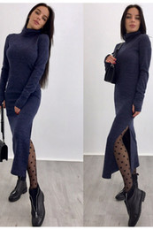Ankle length cAsuAl winter dresses online shopping - High Necked Designer Dress Cheap Knitted Casual Dresses Choker Knitting Shirt Lady Bodycon Personality Designer Dresses