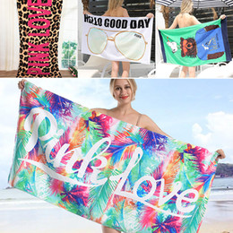 beach blankets wholesale 2018 - 145*70cm Soft Leopard Beach towel Quick Drying Outdoors Sports Swimming Camping Bath Yoga Mat Blanket Bath Towels Beach