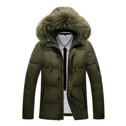 China 2018 Winter Jacket Male Coat Warm Duck Down Zipper ski jacket Outwear Middle Long Parka With Fur Hooded Thick 4 colors Jackets cheap down ski jackets men suppliers