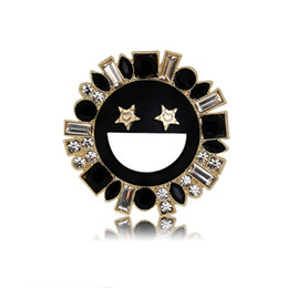 gifts for special friends 2019 - Gold Silver Color New Fashion Trendy Brooch Pin AAA Rhinestone Sunshine Smiling Face Pin Brooch Special Gift for Friends