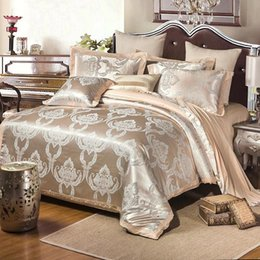 Silk duvetS online shopping - Cotton Silk Lace Duvet Cover Sets Gold Silver Coffee Jacquard Luxury Bedding Set For Home Stain Bed Suit nt BB
