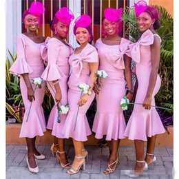 tea length bateau wedding dresses 2019 - African Pink Bridesmaid Dresses One Shoulder With Bow Tea- Length Mermaid Wedding Party Gowns Plus Size 2018 Cheap cheap