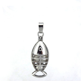 skull perfume 2019 - 10pcs lot Silver Alloy Cute Skull Fish Magnetic Oysters Beads Cage Locket Pendant Aromatherapy Perfume Essential Oils Di