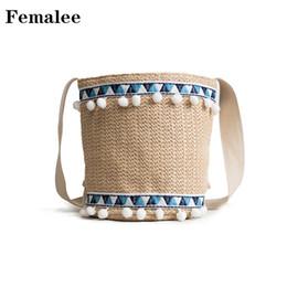 soft weave beach bag 2019 - FEMALEE Crossbody Braided Pompom Bags Women Shoulder Bucket Bag Draw String Woven Handbags Fashion Portable Beach Vacati