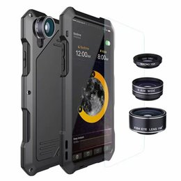 Chinese  Waterproof Shockproof case Aluminum Metal Cover For iPhone X Xs 5 6 7 8 PLUS Samsung Galaxy S7 S8 S9 Cases Duty Armor Camera Fish eye lens manufacturers