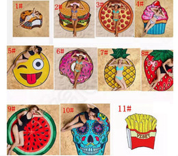 Discount beach blankets wholesale - Round Polyester Beach Shower Towel Blanket Yoga Towel Skull Ice Cream Strawberry Smiley Emoji Pineapple Pie Watermelon T