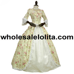 Chinese  Top Sale Renaissance Colonial Gothic Period Dress Floral Print Gown Reenactment Clothing manufacturers