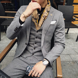 casual man suit gray 2019 - 2018 Autumn Winter New Men Fashion Business Casual Slim Classic Width Stripe One Button Western-style Suit Blazer Outwea