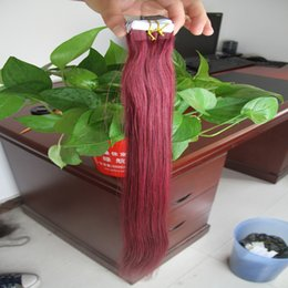 Discount burgundy human hair straight - Tape In Human Hair Extensions Double Drawn Adhesive Hair Skin Weft 100g Brazilian virgin hair straight