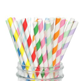 Chinese  25pcs set Stripe Biodegradable Paper Straws Kitchen Accessories Party Supplies Wedding Decoration Home Decor Gadgets for Tumblers Cups manufacturers