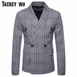casual man suit gray 2019 - JACKEY WU Men's Casual Suit 2018 Autumn And Winter New Men's Plaid Double-breasted Business Suit jacket Light