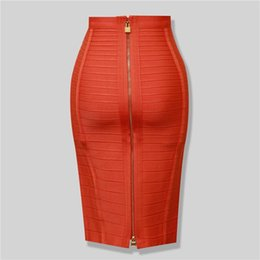China Wholesale- Brand Nerw Sexy Fashion Red Black Bandage Pencil Skirt New Arrival Elastic Bodycon Skirts 54cm supplier acrylic line suppliers