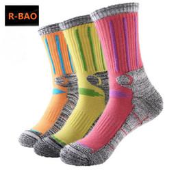hiking socks for women 2019 - R-BAO 2 Pairs Cotton Outdoor Mountaineering Ski Socks Men Women Thicken Deodorant Antibacterial Sports Socks For Hiking
