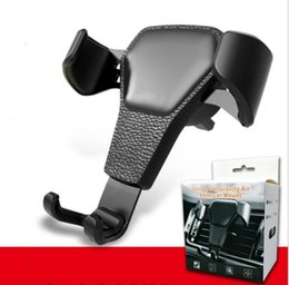 Discount clips for phone holders - Leather Grain Gravity Car Phone Holder Clip Air Vent Mount Car Holder Easy Display Convenient Suitable for 4.0-6.0inch p