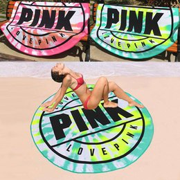 Discount beach blankets wholesale - 160cm Pink Round Beach Towel Microfiber Absorbent Quick Drying Towels Swimming Bath Sports Towels Picnic Blanket Outdoor