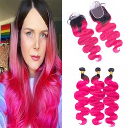Discount dark pink hair dye - Indian Pink Ombre Human Hair Bundles with Lace Closure Dark Roots Hot Pink Body Wave Wavy Virgin Hair Weaves with Closur
