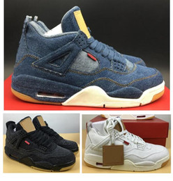 Discount new jeans shoe - Top Quality 4 Denim LS Jeans Basketball Shoes Men 4s NRG Blue Black White Denims Sneakers New With Shoes Box