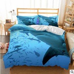 duvets covers 2018 - US AU Size 3pcs Luxury Bedding Set Duvet Shark Printed Bed Cover Set King Sizes Back to School Duvet Cover Set Bedding S