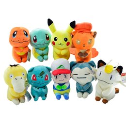 squirtle plush toys 2019 - EMS Sitting Vulpix Psyduck Snorlax Meowth Ash Ketchum Squirtle Bulbasaur PKC 20CM Soft Doll Stuffed Pendant Party Gift P