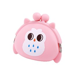Discount silicone animal coin purses - Kawaii Candy Owl Silicone Round Coin Purse Wallet For Girls ID Card Rubber Key Phone Frog Design Bag Pouch Mini Animal C