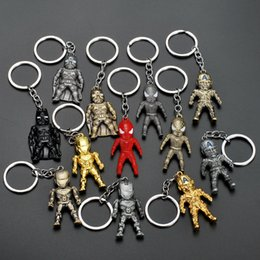 Batman cartoon hero online shopping - New Super Hero Mini Figure Keychain Iron Man Captain America Spiderman Batman Keychain Key Ring Holder Toys Fashion Drop Shipping