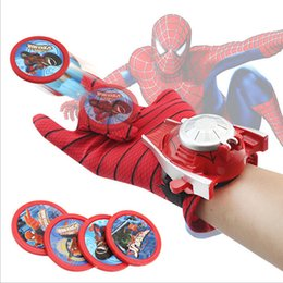 Discount spiderman batman toy avengers - 2016 New Spiderman Glove Avengers Cosplay Glove Gun Batman Launchers Super heroes Toy Gun Heros Launchers Toy Children T