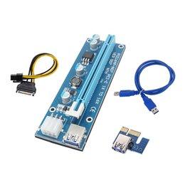 Discount pci express riser card 1x - 10Set ver007 USB 3.0 PCI-E Riser 1x 4x 8x 16x Express Riser Extender Adapter Card 6pin SATA Power Cable for Bitcon Miner