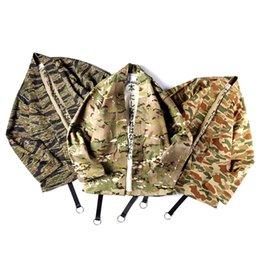 Discount ribbon xl - 2018 Autumn Japanese Kimono Tiger Pattern Camouflage Wind Robes Men's Loose Cardigan Coat Loose Ribbons Jackets